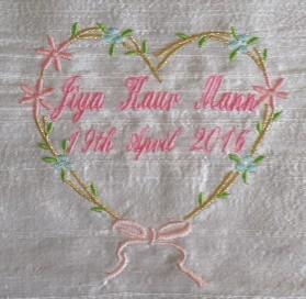 Jiya's embroidered heart