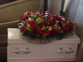 Jiya's coffin & flowers